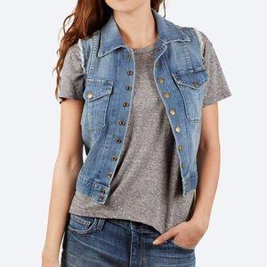 Current /Elliott Denim Sleeveless Snap Jacket Vest